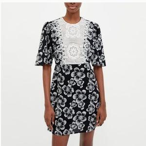 ZARA Dress Black&White Embroidery Large New W Tag
